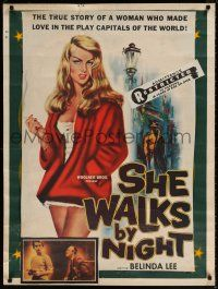 6c068 SHE WALKS BY NIGHT trimmed and mounted 1sh '60 German prostitution, sexy art of Belinda Lee!