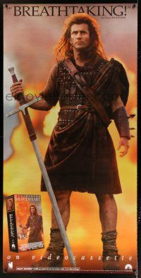 6c061 BRAVEHEART 35x71 video poster '95 cool image of Mel Gibson as William Wallace!