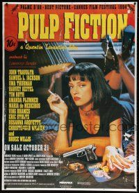 6c010 PULP FICTION 39x55 English commercial poster '94 Quentin Tarantino, sexy Uma Thurman smoking
