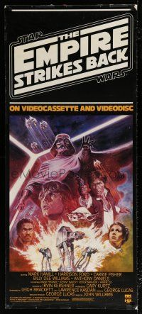 6c062 EMPIRE STRIKES BACK 23x53 video poster R84 George Lucas sci-fi classic, cool artwork by Jung