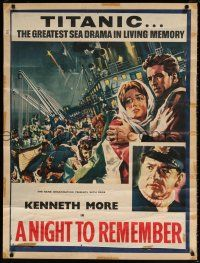 6c067 NIGHT TO REMEMBER trimmed and mounted English 1sh '58 English Titanic biography, cool art!