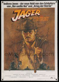 6c015 RAIDERS OF THE LOST ARK German 33x47 '81 art of adventurer Harrison Ford by Richard Amsel!