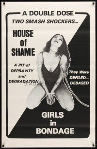 6c071 HOUSE OF SHAME/GIRLS IN BONDAGE 1sh '70s image of sexy girl bound & w/leash!