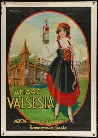 6c022 AMARO VALSESIA 40x55 Italian advertising poster '20s stone litho art of smiling woman w/wine