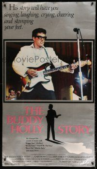 6c051 BUDDY HOLLY STORY 31x45 special '78 cool image of Gary Busey w/guitar!
