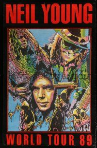 6c045 NEIL YOUNG 38x59 music poster '89 cool Piersanti art of the band from their world tour!