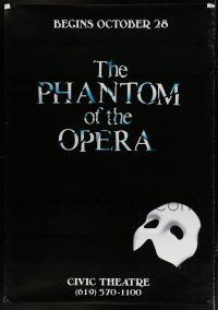6c048 PHANTOM OF THE OPERA DS 48x69 stage poster '90s Andrew Lloyd Webber, classic mask art!