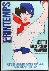 6c032 PRINTEMPS DS 47x69 French advertising poster '80s sexy woman in blue beret by Helene Majera!
