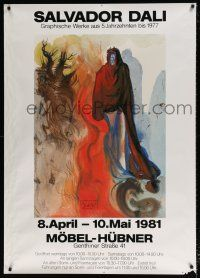 6c017 SALVADOR DALI MOBEL-HUBNER 35x49 German art exhibition '81 art of a man in red cloak!