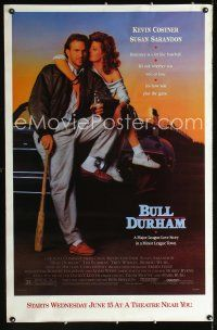 6c076 BULL DURHAM half subway '88 great image of baseball player Kevin Costner & Susan Sarandon!