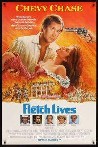 6c077 FLETCH LIVES advance half subway '89 Chevy Chase, Phillips, Gone With the Wind parody art!