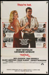 6c079 HUSTLE half subway '75 Robert Aldrich, art of Burt Reynolds & sexy Catherine Deneuve!