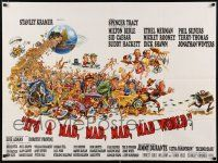 6j214 IT'S A MAD, MAD, MAD, MAD WORLD style B British quad '64 art of cast on Earth by Jack Davis!