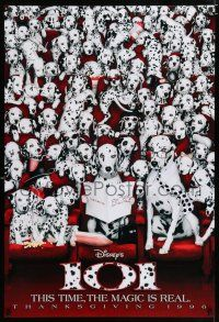6k005 101 DALMATIANS teaser DS 1sh '96 Walt Disney live action, wacky image of dogs in theater!