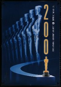6k012 73RD ANNUAL ACADEMY AWARDS 1sh '01 cool Alex Swart design & image of many Oscars!