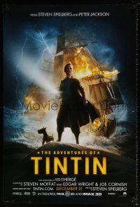 6k017 ADVENTURES OF TINTIN teaser DS Dec 21 style 1sh '11 Spielberg's CGI version of Belgian comic!