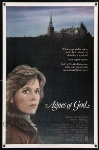 6k019 AGNES OF GOD 1sh '85 directed by Norman Jewison, Jane Fonda, nun Meg Tilly!