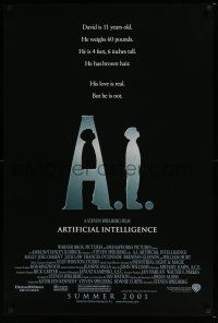 6k013 A.I. ARTIFICIAL INTELLIGENCE advance 1sh '01 Spielberg, Haley Joel Osment, Jude Law!