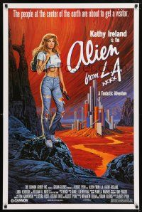 6k023 ALIEN FROM LA 1sh '88 cool artwork of sexy Kathy Ireland inside the Earth by Larry Salk!