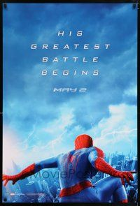 6k029 AMAZING SPIDER-MAN 2 teaser 1sh '14 Andrew Garfield, his greatest battle begins!