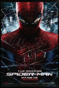 6k026 AMAZING SPIDER-MAN teaser DS 1sh '12 portrait of Andrew Garfield in title role over city!
