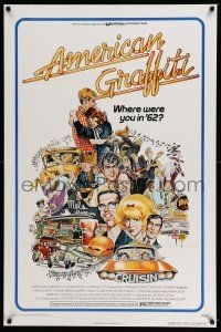 6k035 AMERICAN GRAFFITI 1sh '73 George Lucas teen classic, wacky Mort Drucker artwork of cast!