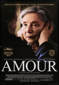 6k038 AMOUR DS 1sh '12 Jean-Louis Trintignant, Emmanuelle Riva, image of old woman held by ears!