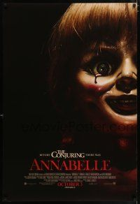 6k042 ANNABELLE int'l advance DS 1sh '14 creepy horror image of possessed doll w/ bloody tear!