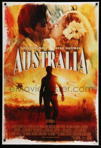 6k052 AUSTRALIA style E int'l DS 1sh '08 Hugh Jackman & Nicole Kidman kissing in the rain!