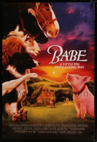6k055 BABE heavy stock 1sh '95 classic talking pig, children's farm animal comedy!