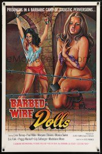6k057 BARBED WIRE DOLLS 1sh '77 Jesus Franco, sexy art of barely-clothed female prisoners!