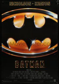 6k059 BATMAN 1sh '89 Michael Keaton, Jack Nicholson, directed by Tim Burton!