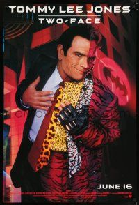 6k060 BATMAN FOREVER advance 1sh '95 cool image of Tommy Lee Jones as Two-Face!