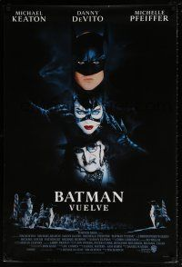 6k063 BATMAN RETURNS Spanish/U.S. 1sh '92 Tim Burton, cool shadowy bat image!