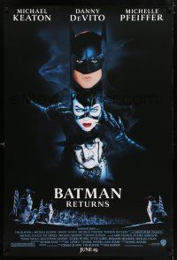6k065 BATMAN RETURNS white date style advance 1sh '92 Burton, Keaton, DeVito, Pfeiffer!