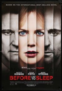 6k066 BEFORE I GO TO SLEEP advance DS 1sh '14 cool multiple part image of Kidman, Firth, Strong!