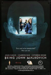 6k067 BEING JOHN MALKOVICH door style 1sh '99 Spike Jonze directed, Cusack, Cameron Diaz!