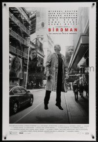 6k077 BIRDMAN photo style DS 1sh '14 Michael Keaton levitating in New York City, Galifianakis!