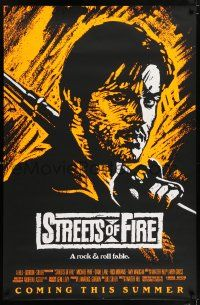 6k004 STREETS OF FIRE orange style advance 1sh '84 Walter Hill, cool dayglo Riehm art!