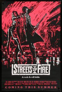 6k001 STREETS OF FIRE pink style advance 1sh '84 Walter Hill, cool dayglo Riehm art!