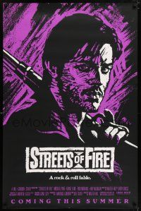 6k003 STREETS OF FIRE purple style advance 1sh '84 Walter Hill, cool dayglo Riehm art!
