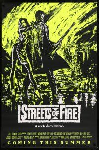 6k002 STREETS OF FIRE yellow style advance 1sh '84 Walter Hill, cool dayglo Riehm art!