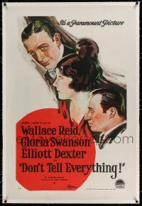 6m033 DON'T TELL EVERYTHING linen 1sh '21 stone litho art of Gloria Swanson, Wallace Reid & Dexter!