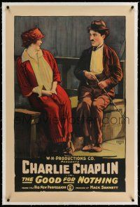 6m063 HIS NEW PROFESSION linen 1sh R18 stone litho of The Tramp Charlie Chaplin, Good For Nothing!