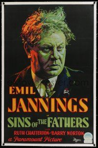6m131 SINS OF THE FATHERS linen 1sh '28 great art of bootlegger Jannings who blinded his own son!