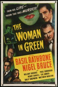 6m158 WOMAN IN GREEN linen 1sh '45 Rathbone as Sherlock Holmes,her lips had poison that bred murder!