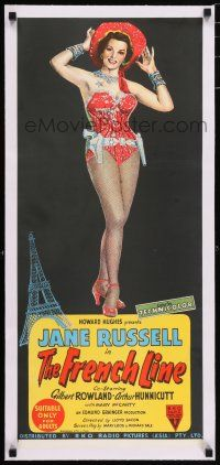 6p012 FRENCH LINE linen Aust daybill '54 Howard Hughes, hand litho of sexy showgirl Jane Russell!