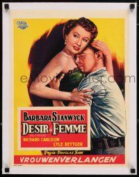 6p067 ALL I DESIRE linen Belgian '53 great Bos art of sexy Barbara Stanwyck & Richard Carlson!