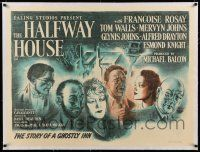 6p020 HALFWAY HOUSE linen British quad '44 Dearden & Cavalcanti story of people between life & death