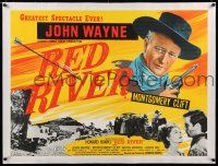 6p021 RED RIVER linen British quad R50s great artwork of John Wayne, Montgomery Clift, Howard Hawks